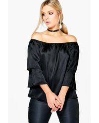 06c5af7ba8d Lyst - Boohoo Plus Emilie Satin Ruffle Off The Shoulder Top in Black