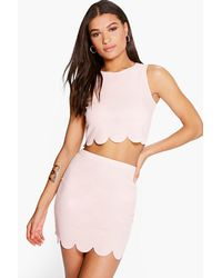 Boohoo - Pink Nataly Scallop Top & Mini Skirt Co-ord Set - Lyst