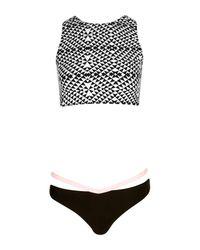 Boohoo - Black Crop Strap Back Bikini - Lyst