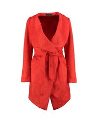Boohoo - Orange Grace Suedette Over Sized Collar Duster - Lyst