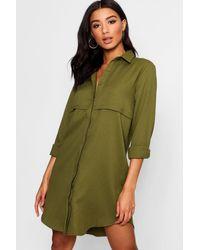 Boohoo Natural Double Placket Woven Shirt Dress