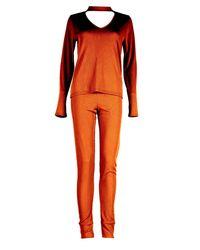 Boohoo Multicolor Mia Long Sleeve Choker Tshirtand Jogger Lounge Set