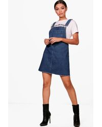 Boohoo Blue Drop Armhole Denim Pinafore Dress
