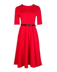 Boohoo Red Ava Belted Midi Skater Dress