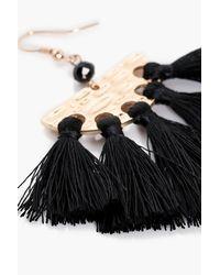 Boohoo - Black Naomi Hammered Halfmoon Plate Tassel Earrings - Lyst