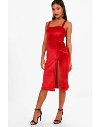 Boohoo Red Velvet Strappy Split Leg Midi Dress