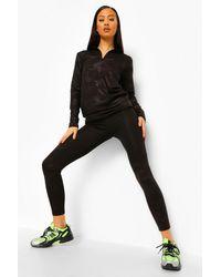Boohoo Black Womens Active Leggings Mit Camouflage-Print Und Versteckter Reißverschlusstasche