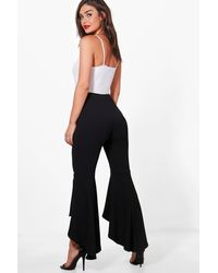 Boohoo Black Avah Ruffle Wide Leg Trousers