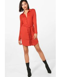 Boohoo Red Button Through Collar Shirt Dress