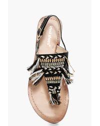Boohoo - Black Amelie Beaded Tassel Toe Post Sandal - Lyst