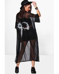 Boohoo Black Sun And Moon Mesh Kimono