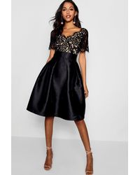 448644507d4 Boohoo Boutique Eyelash Lace Skater Dress in Black - Lyst
