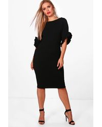 Boohoo Black Plus Boat Neck Frill Sleeve Midi Dress