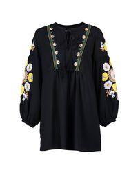 Boohoo - Black Petite Heavily Embroidered Smock Dress - Lyst