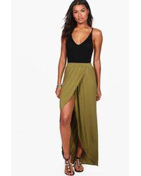 Boohoo Green Reine Wrap Front Jersey Maxi Skirt