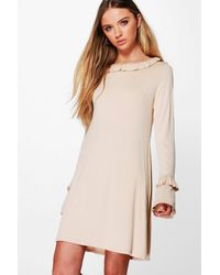 Boohoo Multicolor Stacey Ruffle Sleeve And Collar Shift Dress