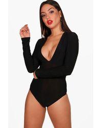 Boohoo Black Deep Plunge Neck Bodysuit