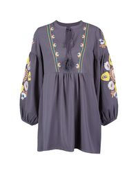 Boohoo - Gray Petite Heavily Embroidered Smock Dress - Lyst