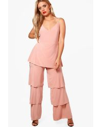 Boohoo Pink Plus Slinky Frill Layered Jumpsuit