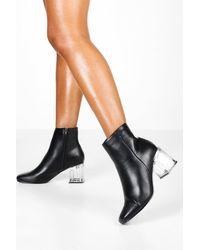 Boohoo Black Clear Low Heel Shoe Boots