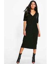 Boohoo Black Emma Texture Slinky Column Midi Dress