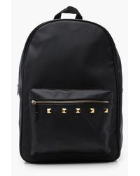 5d5cf247c7 Boohoo Black Pu Backpack With Gold Studs in Black for Men - Lyst