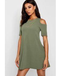 Boohoo Green Cold Shoulder Swing Dress