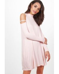 Boohoo Pink Rosamary Strappy Shoulder Swing Dress