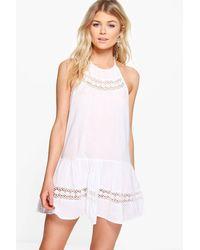 Boohoo White Petite Crochet Insert Sundress