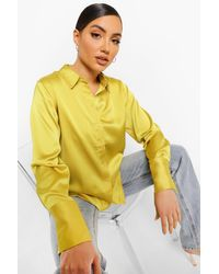 Boohoo Yellow Womens Bluse In Übergröße Aus Satin