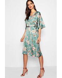 Boohoo Green Floral Batwing Midi Dress