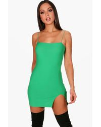 Boohoo Green Josie Thigh Split Micro Mini Bodycon Dress