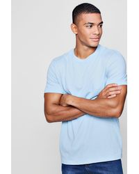 Boohoo Blue Regular Fit Crew Neck T-shirt for men