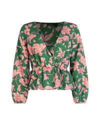Boohoo - Green Petite Bold Floral Wrap Blouse - Lyst