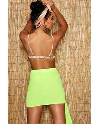 Boohoo - Green Neon Drape Detail Beach Skirt - Lyst