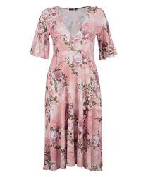 Boohoo Pink Rachel Floral Angel Sleeve Midi Skater Dress