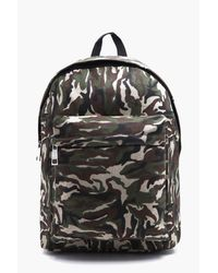 Boohoo Multicolor Textured Camo Backpack for men