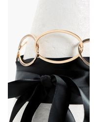 Boohoo   Metallic Helena Ring Statement Ribbon Tie Choker   Lyst