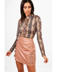 Boohoo Pink Isla Pu Western Buckle Belt Mini Skirt