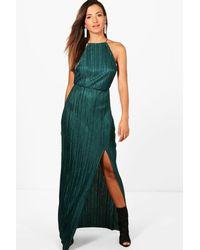 373e106bda60a Lyst - Boohoo Pletaed Thigh Split Maxi Dress in Green