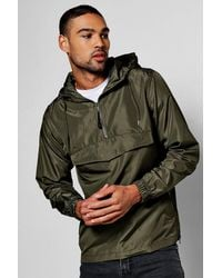 Boohoo Green Lightweight Over The Head Hooded Cagoule for men