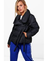 Boohoo Black Plus Charlotte Padded Tie Front Coat