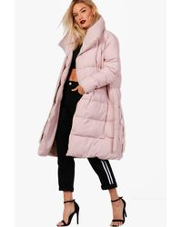 Boohoo Pink Dionne Longline Padded Tie Front Coat