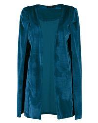 Boohoo Blue Casey Longline Tailored Velvet Cape