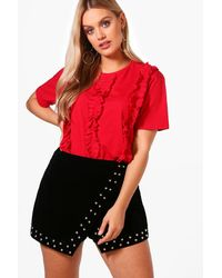 Boohoo Red Plus Tammy Ruffle Front T Shirt