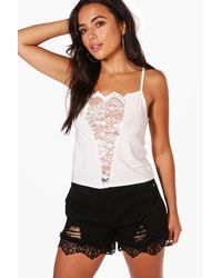 Boohoo White Petite Renee Lace Panel V Front Cami