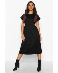 Boohoo Black Womens Short Sleeve Midi Smock Dress