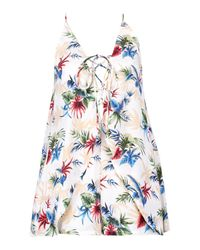 Boohoo - White Petite Palm Print Open Back Woven Playsuit - Lyst