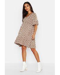 Boohoo Multicolor Maternity V Neck Polka Dot Smock Dress