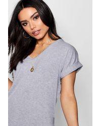 Boohoo - Black Oversized Boyfriend V Neck T-shirt - Lyst